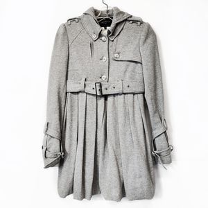 All Saints Gray Cotton Trench Coat Jacket Size 6